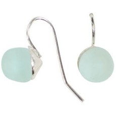 Global Mamas Pearl Drop Recycled Glass Earrings - Clear Water