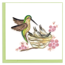 Quilling Card Hummingbird & Babies Quilled Card