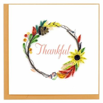 Quilling Card Thankful Wreath Quilled Card