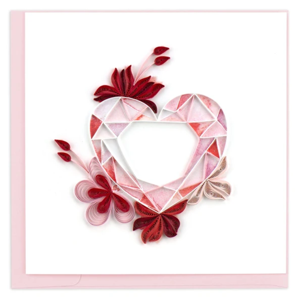 Quilling Card Gemstone Heart Quilled Card