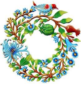 Global Crafts Painted Door Wreath with Bird Drum Art