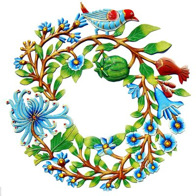 Global Crafts Painted Door Wreath with Bird Drum Art