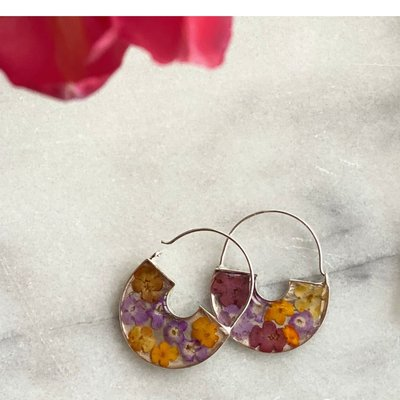 Global Crafts Flower Basket Earrings