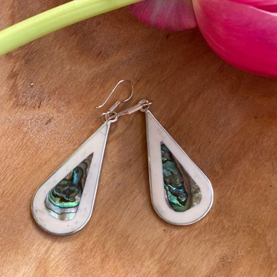 Global Crafts Teardrop Abalone and Mother of Pearl Earrings