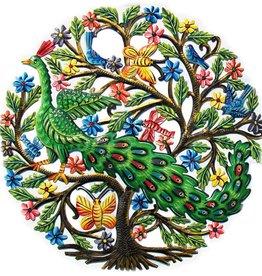 Global Crafts Peacock in Tree Painted Drum Art