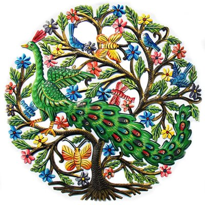 Global Crafts Peacock in Tree Painted Drum Art
