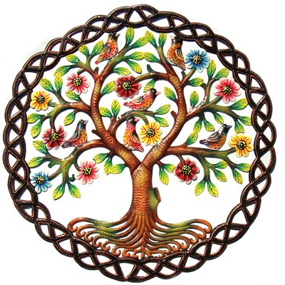 Global Crafts Tree in Braided Ring Painted Drum Art