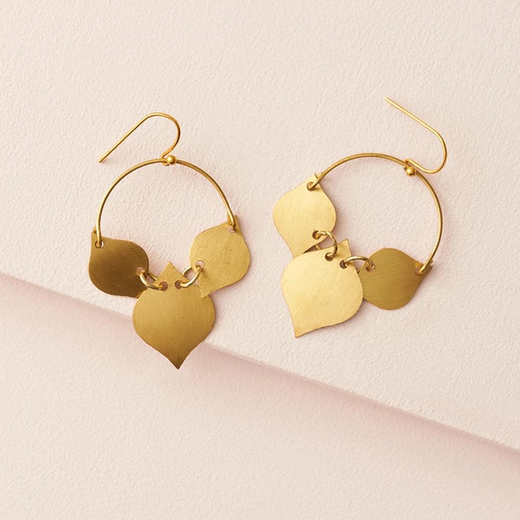 Matr Boomie Chameli Gold Leaf Earrings
