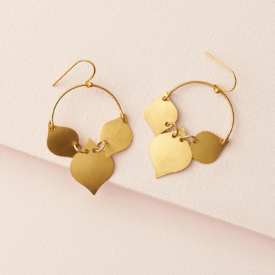 Matr Boomie Chameli Gold Leaf Earrings
