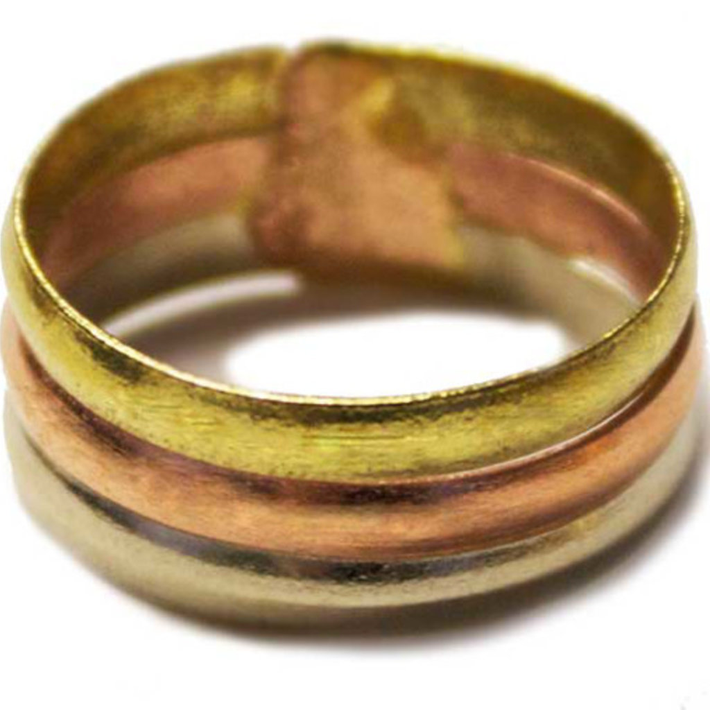Unique Batik Tri-color Metal Wide Band Ring