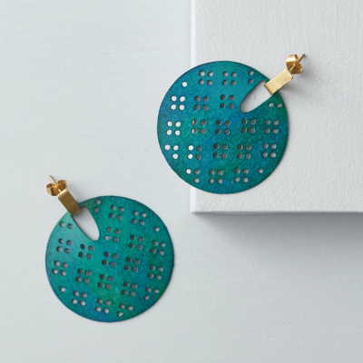 Matr Boomie Chameli Teal Blossom Earrings