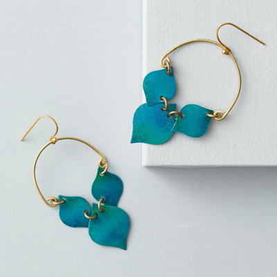 Matr Boomie Chameli Teal Leaf Earrings