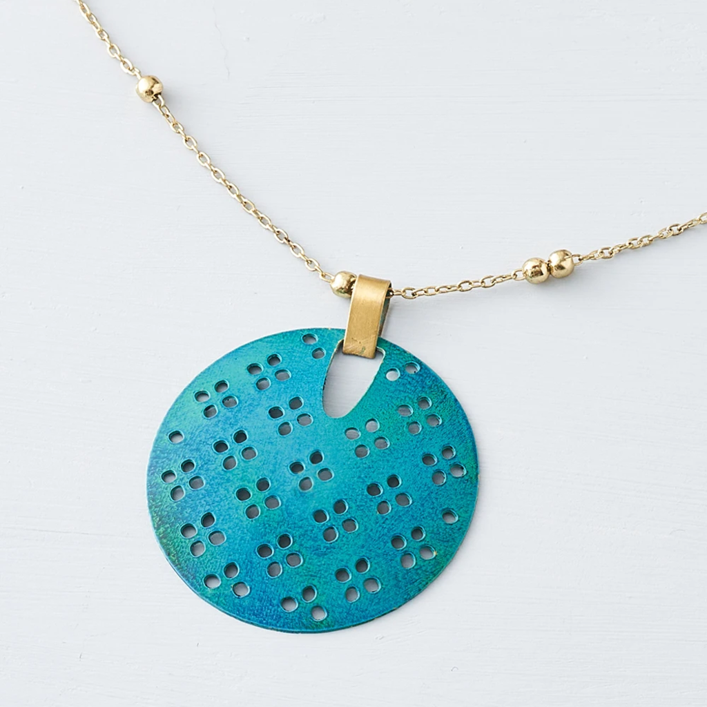 Matr Boomie Chameli Teal Blossom Necklace