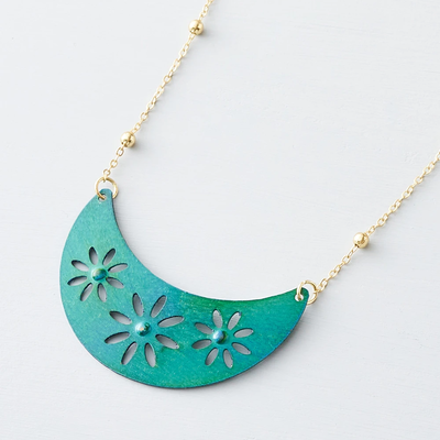 Matr Boomie Chameli Teal Petal Necklace