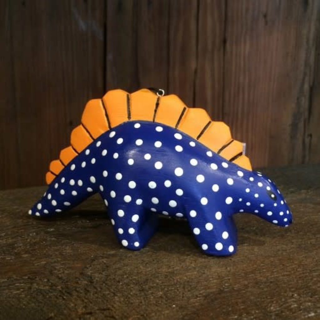 Women of the Cloud Forest Whimsical Stegosaurus Balsa Wood Ornament
