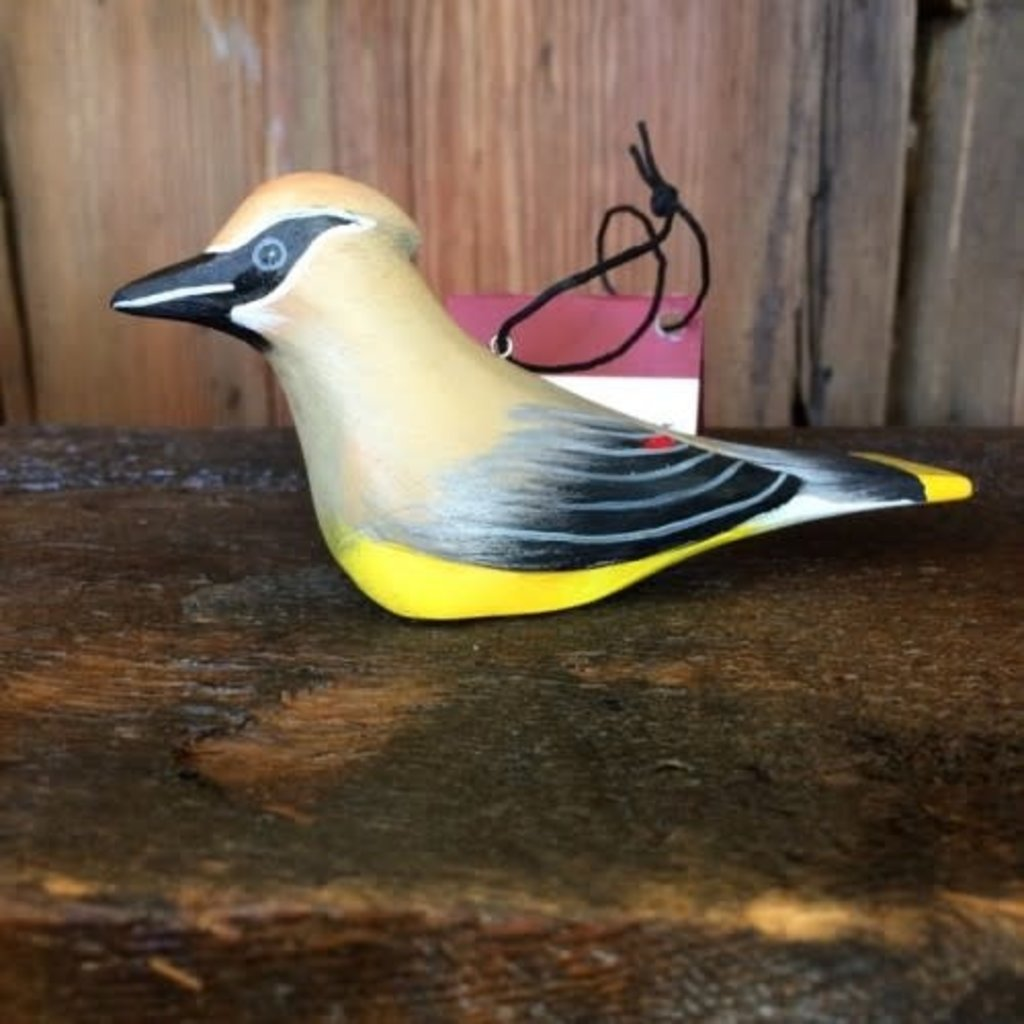 Women of the Cloud Forest Cedar Waxwing Balsa Wood Ornament