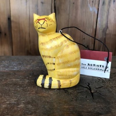Women of the Cloud Forest Yellow Cat Balsa Wood Ornament