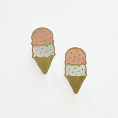 Mata Traders Neopolitan Ice Cream Brass Stud Earrings