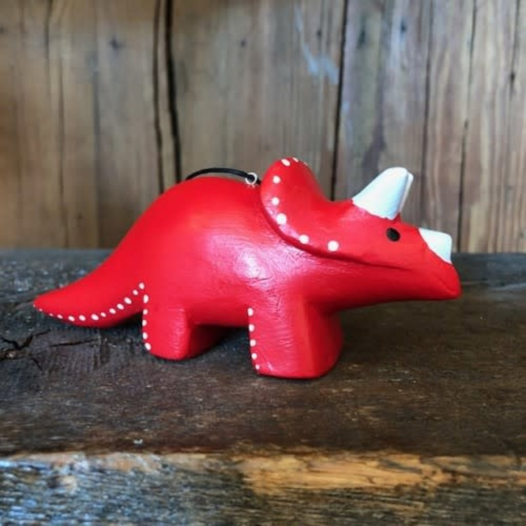 Women of the Cloud Forest Whimsical Triceratops Balsa Wood Ornament