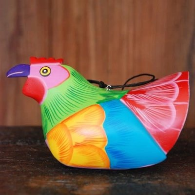 Women of the Cloud Forest Whimsical Chicken Balsa Wood Ornament