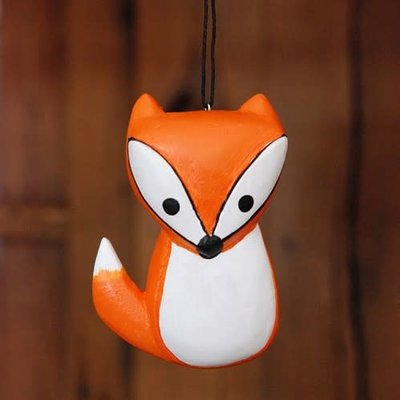 Women of the Cloud Forest Whimsical Fox Balsa Wood Ornament