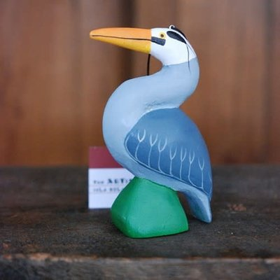 Women of the Cloud Forest Blue Heron Balsa Wood Ornament