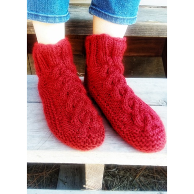 Ganesh Himal Cable Knit Fleece-lined Wool Slippers