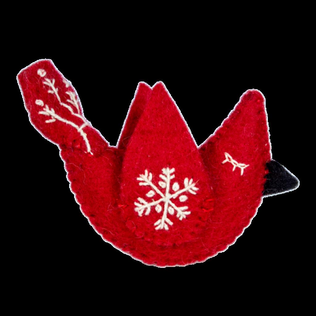 DZI Handmade Felt Snowflake Cardinal Ornament