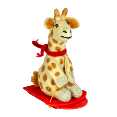 DZI Handmade Felt Sledding Giraffe Ornament