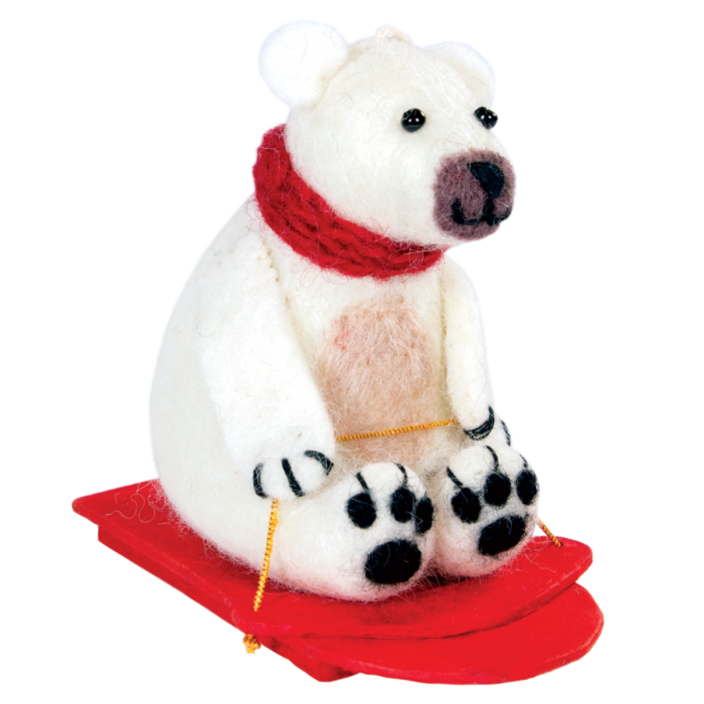 DZI Handmade Felt Sledding Polar Bear Ornament