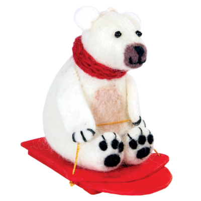 DZI Handmade Felt Sledding Polar Bear Ornament