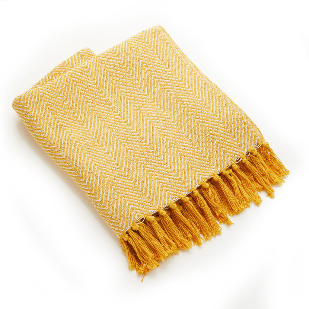Serrv Cotton Rethread Gold Chevron Throw Blanket