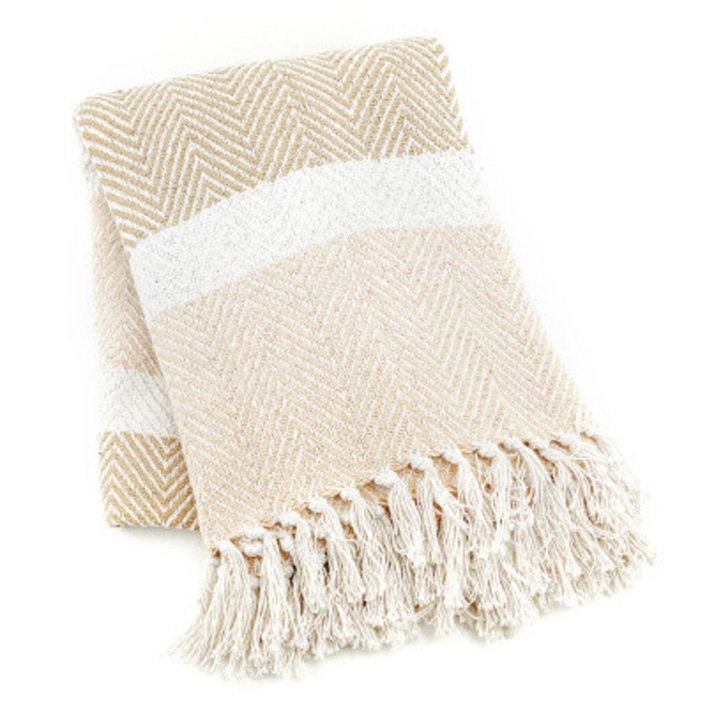 Serrv Cotton Rethread  Natural Striped Throw Blanket