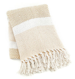 Serrv Cotton Rethread  Natural Striped Throw Blanket
