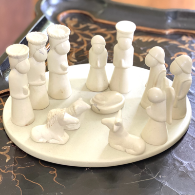 Global Crafts 14 Piece Kisii Stone Nativity with Plate