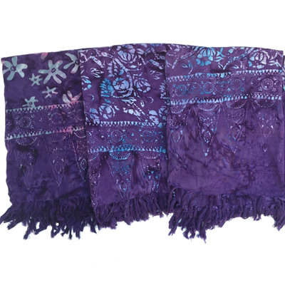 Blue Hand Dark Purple Batik Sarong