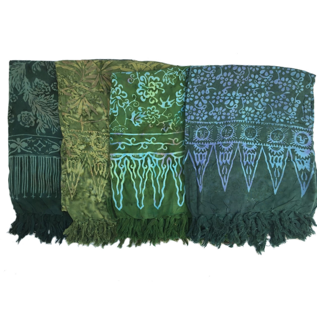 Blue Hand Dark Green Batik Sarong