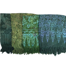 Blue Hand Dark Green Batik Sarong