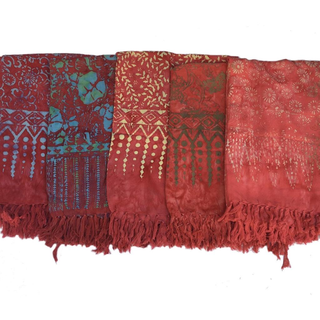 Blue Hand Red Batik Sarong