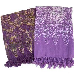 Blue Hand Light Purple Batik Sarong