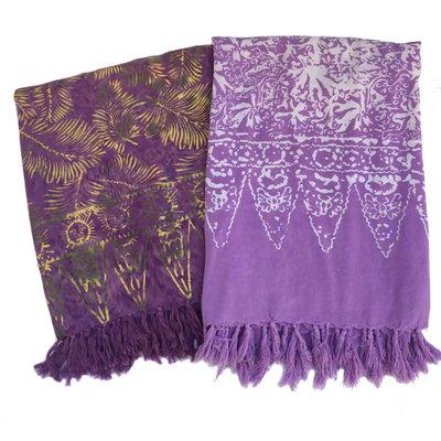 Blue Hand Batik Sarong Light Purple