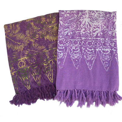 Blue Hand Light Purple Batik Sarong