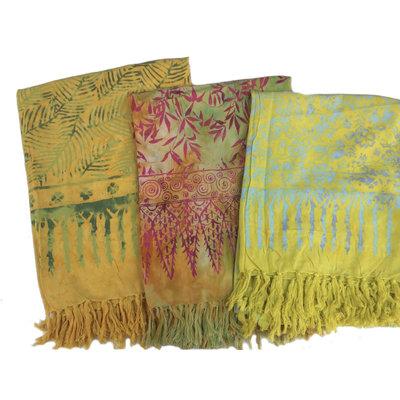 Blue Hand Batik Sarong Bright Yellow