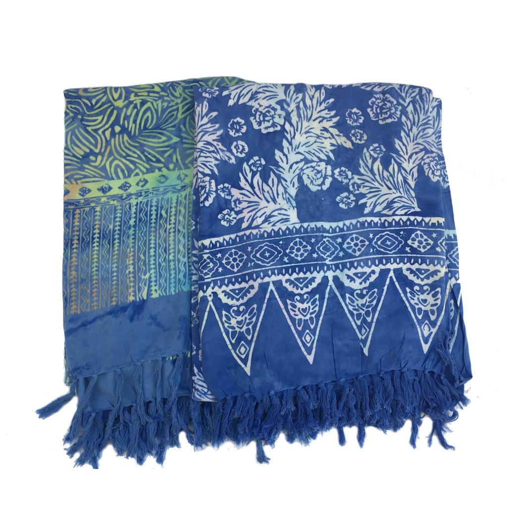 Blue Hand Batik Sarong Medium Blue