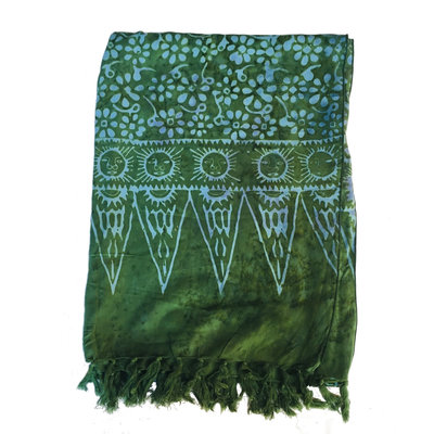 Blue Hand Dark Green Batik Scarf