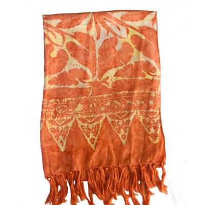 Blue Hand Orange Batik Scarf