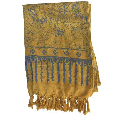 Blue Hand Gold Batik Scarf