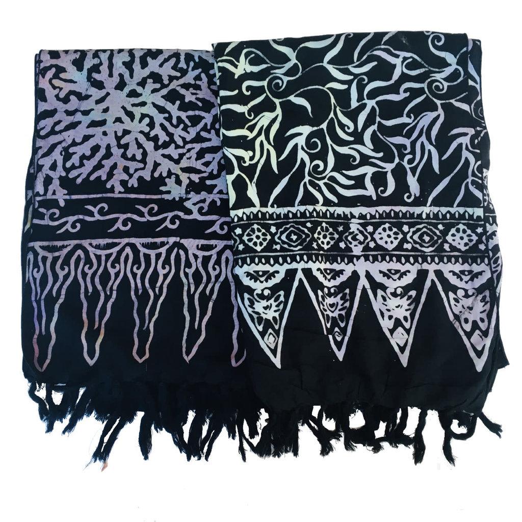 Blue Hand Batik Scarf Black