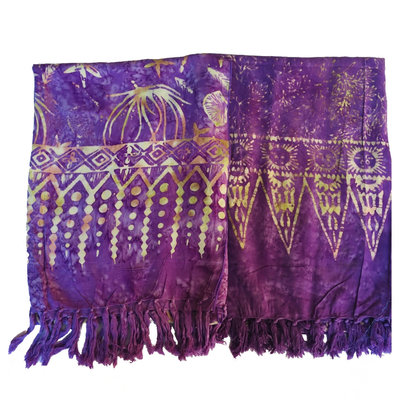 Blue Hand Light Purple Batik Scarf
