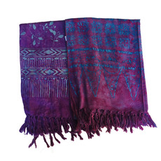 Blue Hand Dark Purple Batik Scarf